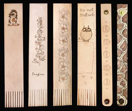 Student Pyrography Leather Bookmarks & Bracelets