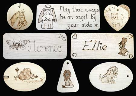 Student Pyrography Wood Names Plates & Pendants