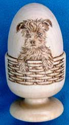 Yorkshire Terrier in Wicker Basket Egg Cup Set