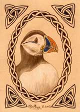 Puffin Leather ACEO Artwork