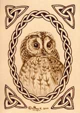 Tawny Owl Leather ACEO Artwork