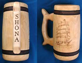 Ship Tankard Pyrography Commission
